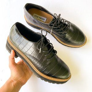 Steve Madden Terri Black Crocodile Oxford Lace Up